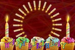 Ευχετήρια κάρτα γενεθλίων με το cupcake και τα κεριά Στοκ Εικόνες