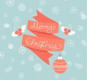 Ευχετήρια κάρτα για τα Χριστούγεννα με τη σφαίρα Στοκ φωτογραφία με δικαίωμα ελεύθερης χρήσης