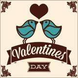 Ευχετήρια κάρτα για την ημέρα βαλεντίνων, με τα πουλιά Στοκ Φωτογραφία