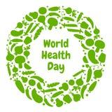 Ευχετήρια κάρτα για την ημέρα παγκόσμιας υγείας r απεικόνιση αποθεμάτων
