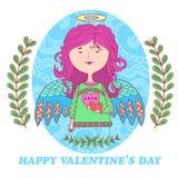 Ευχετήρια κάρτα για την ημέρα του βαλεντίνου με ένα γλυκό κορίτσι αγγέλου απεικόνιση αποθεμάτων