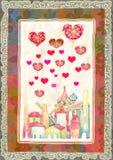 Ευχετήρια κάρτα για την ημέρα του βαλεντίνου διανυσματική απεικόνιση