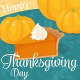 Ευχετήρια κάρτα για την ημέρα των ευχαριστιών με τις κολοκύθες και την πίτα κολοκύθας στο ύφος κινούμενων σχεδίων επίσης corel σύ Στοκ Φωτογραφία
