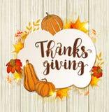 Ευχετήρια κάρτα για την ημέρα των ευχαριστιών με τις κολοκύθες διανυσματική απεικόνιση