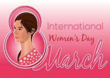 Ευχετήρια κάρτα για την ημέρα των διεθνών γυναικών Κάρτα με όμορφες γυναίκες Στοκ Φωτογραφίες