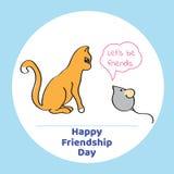 Ευχετήρια κάρτα για την ημέρα φιλίας Διανυσματική απεικόνιση της γάτας και Στοκ Εικόνες