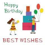 Ευχετήρια κάρτα για τη γιορτή γενεθλίων παιδιών διανυσματική απεικόνιση