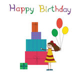 Ευχετήρια κάρτα για τη γιορτή γενεθλίων παιδιών Στοκ Εικόνα