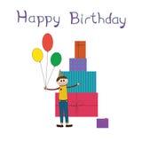 Ευχετήρια κάρτα για τη γιορτή γενεθλίων παιδιών απεικόνιση αποθεμάτων