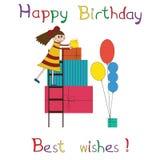 Ευχετήρια κάρτα για τη γιορτή γενεθλίων παιδιών ελεύθερη απεικόνιση δικαιώματος