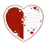 Ευχετήρια κάρτα για τις διακοπές ημέρας βαλεντίνων ` s Καρδιά κόκκινος και άσπρος με τις γραμμές για το κείμενο Στοκ εικόνα με δικαίωμα ελεύθερης χρήσης
