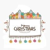 Ευχετήρια κάρτα για τον εορτασμό Χαρούμενα Χριστούγεννας Στοκ εικόνα με δικαίωμα ελεύθερης χρήσης