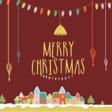 Ευχετήρια κάρτα για τον εορτασμό Χαρούμενα Χριστούγεννας Στοκ Φωτογραφία