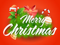 Ευχετήρια κάρτα για τον εορτασμό Χαρούμενα Χριστούγεννας Στοκ Εικόνες