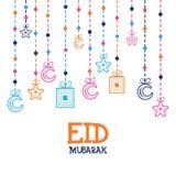 Ευχετήρια κάρτα για τον εορτασμό Eid Μουμπάρακ Στοκ Εικόνες