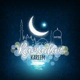 Ευχετήρια κάρτα για τον ισλαμικό ιερό μήνα των προσευχών, εορτασμοί Ramadan Kareem απεικόνιση αποθεμάτων