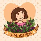 Ευχετήρια κάρτα για το mom με την αγάπη Στοκ Εικόνα