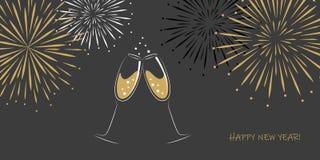 Ευχετήρια κάρτα δύο καλής χρονιάς γυαλιά και πυροτεχνήματα σαμπάνιας σε ένα γκρίζο υπόβαθρο απεικόνιση αποθεμάτων
