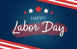 Ευχετήρια κάρτα Εργατικής Ημέρας με την αμερικανική σημαία και τα αμερικανικά σύμβολα - αστέρια και λωρίδες Δημιουργική εγγραφή σ διανυσματική απεικόνιση