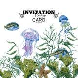Ευχετήρια κάρτα ζωής θάλασσας θερινού εκλεκτής ποιότητας Watercolor διανυσματική απεικόνιση