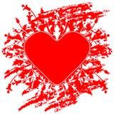Ευχετήρια κάρτα ημέρας βαλεντίνου με τα λουλούδια και καρδιά στο grunge β στοκ εικόνες