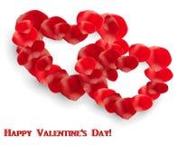 Ευχετήρια κάρτα ημέρας βαλεντίνου με τα ροδαλά πέταλα με μορφή δύο καρδιών απεικόνιση αποθεμάτων