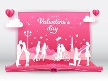 Ευχετήρια κάρτα ημέρας βαλεντίνου με τα ρομαντικά ζεύγη ερωτευμένα διανυσματική απεικόνιση