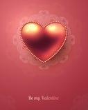 Ευχετήρια κάρτα ημέρας βαλεντίνου με το στιλπνό ροζ Στοκ εικόνα με δικαίωμα ελεύθερης χρήσης
