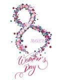 Ευχετήρια κάρτα ημέρας γυναικών ` s Διανυσματική απεικόνιση