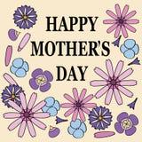 Ευχετήρια κάρτα ημέρας μητέρας με τα λουλούδια Στοκ Εικόνα