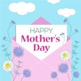 Ευχετήρια κάρτα ημέρας μητέρας με το υπόβαθρο λουλουδιών, διανυσματικές απεικονίσεις σχεδίου ελεύθερη απεικόνιση δικαιώματος