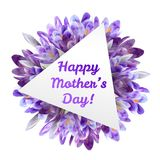 Ευχετήρια κάρτα ημέρας μητέρων με τα λουλούδια κρόκων Στοκ Εικόνες