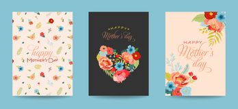 Ευχετήρια κάρτα ημέρας μητέρων που τίθεται με την ανθοδέσμη λουλουδιών Ευτυχές Floral έμβλημα ημέρας μητέρων Καλύτερη αφίσα Mom,  απεικόνιση αποθεμάτων