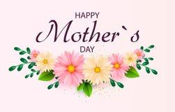 Ευχετήρια κάρτα ημέρας μητέρων ` s με τα όμορφα λουλούδια ανθών ελεύθερη απεικόνιση δικαιώματος