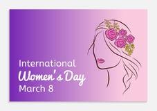 Ευχετήρια κάρτα ημέρας των διεθνών γυναικών Σκιαγραφία ενός όμορφου κοριτσιού σε ένα πλαίσιο με τα λουλούδια στο κεφάλι της μοντέ Στοκ φωτογραφία με δικαίωμα ελεύθερης χρήσης