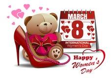 Ευχετήρια κάρτα ημέρας των ευτυχών γυναικών με το παπούτσι γυναικών, ημερολόγιο, ρόδινες χάντρες, teddy αρκούδα 8 Μαρτίου Στοκ φωτογραφία με δικαίωμα ελεύθερης χρήσης