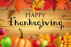 Ευχετήρια κάρτα ημέρας των ευχαριστιών με τα φύλλα, κολοκύθα στο ξύλινο υπόβαθρο Στοκ Φωτογραφίες