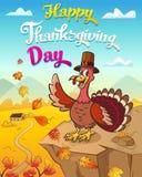 Ευχετήρια κάρτα ημέρας των ευχαριστιών με τη δροσερή τραγουδώντας Τουρκία που στέκεται στη pumpkinThanksgiving ευχετήρια κάρτα tn διανυσματική απεικόνιση