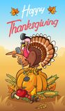 Ευχετήρια κάρτα ημέρας των ευχαριστιών με τη δροσερή τραγουδώντας Τουρκία που στέκεται στην κολοκύθα tne διανυσματική απεικόνιση