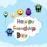 Ευχετήρια κάρτα ημέρας φιλίας με τα χαριτωμένα τέρατα Στοκ Εικόνες