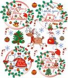 Ευχετήρια κάρτα, κάρτα Χριστουγέννων με Άγιο Βασίλη, ελάφια, χιονάνθρωπος, chr Στοκ φωτογραφίες με δικαίωμα ελεύθερης χρήσης