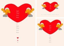 Ευχετήρια κάρτα καθορισμένη ή αφίσα με τους αγγέλους που κρατούν τη μεγάλη καρδιά βαλεντίνων Αγάπη, gratefulness, λατρεία, έννοια Στοκ εικόνα με δικαίωμα ελεύθερης χρήσης