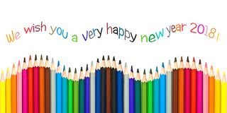 Ευχετήρια κάρτα καλής χρονιάς 2018, ζωηρόχρωμα μολύβια που απομονώνονται στο λευκό Στοκ Εικόνα