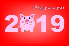 Ευχετήρια κάρτα καλής χρονιάς 2019, κινεζικό νέο σύμβολο έτους, έτος του χοίρου στοκ φωτογραφίες με δικαίωμα ελεύθερης χρήσης