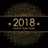 2018 ευχετήρια κάρτα καλής χρονιάς με τις χρυσά διακοσμήσεις και snowflakes Στοκ Εικόνα