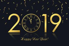 Ευχετήρια κάρτα καλής χρονιάς 2019 με το χρυσό ρολόι και το χρυσό κομφετί διάνυσμα ελεύθερη απεικόνιση δικαιώματος