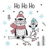 Ευχετήρια κάρτα καλής χρονιάς Χριστουγέννων χειμερινών Χριστουγέννων με τη χαριτωμένα αστεία αρκτικά κουκουβάγια και το πουλί Στοκ Εικόνα