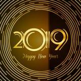 Ευχετήρια κάρτα καλής χρονιάς 2019 - χρυσοί αριθμοί σε σκοτεινό Backg ελεύθερη απεικόνιση δικαιώματος