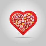 Ευχετήρια κάρτα καρδιών λουλουδιών στοκ εικόνα