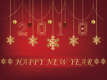 Ευχετήρια κάρτα 2018 καλής χρονιάς κόκκινο backgroun απεικόνιση αποθεμάτων
